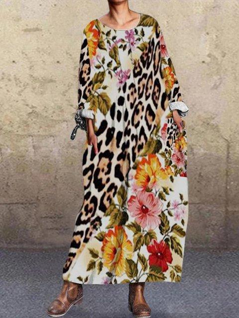 Fashion Print Stitching Long Sleeve Dress