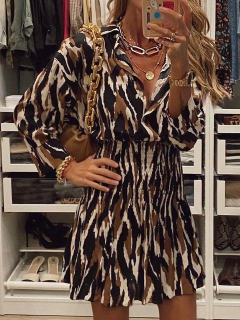 Printed Leopard V Neck Dresses