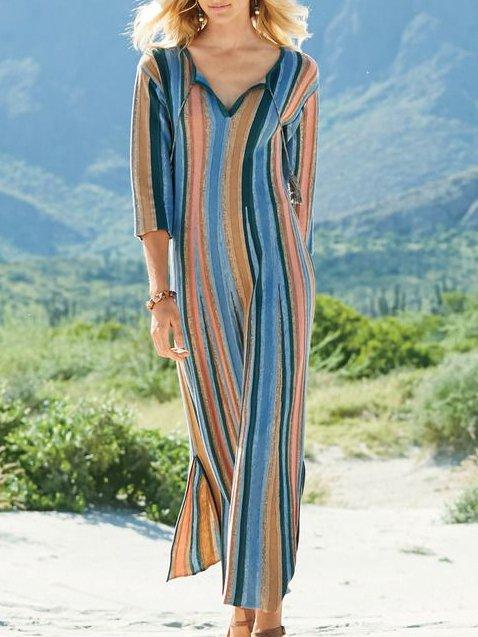 Long Sleeve Casual Stripes Dresses