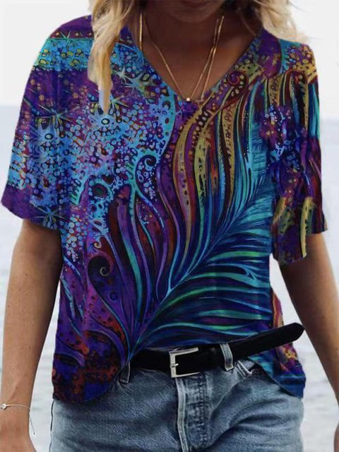 Graphic Short Sleeve Cotton V Neck Shirts & Tops