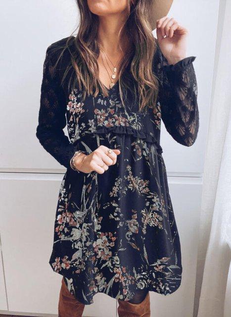 Lace/Print/Floral Long Sleeves Shift Knee Length Elegant Tunic Dresses