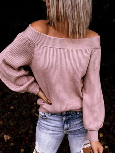 Knitted Long Sleeve Sexy Plain Sweater