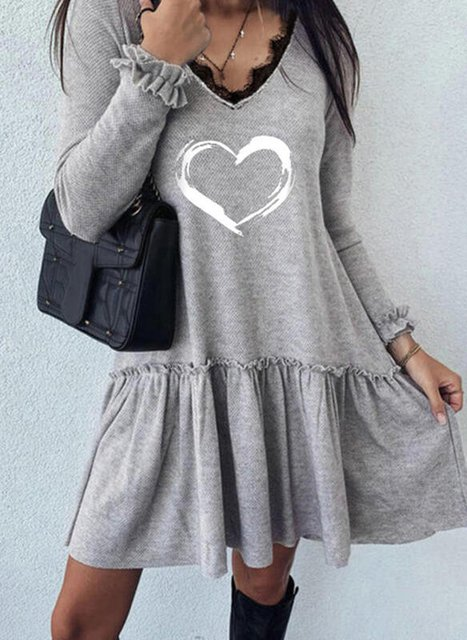 Lace/Print Long Sleeves Shift Knee Length Casual Tunic Dresses