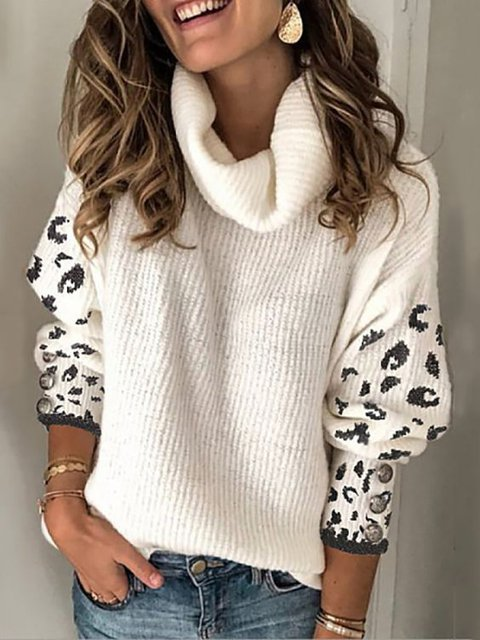 Cotton Printed Sweet Cowl Neck Sweater