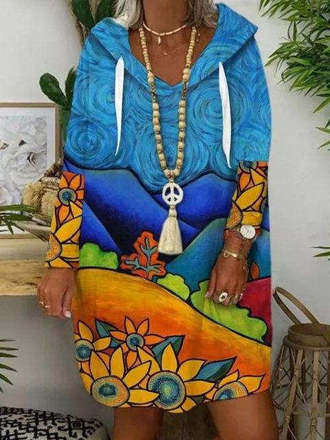 Casual Color Block  V-Neckline Shift Dress