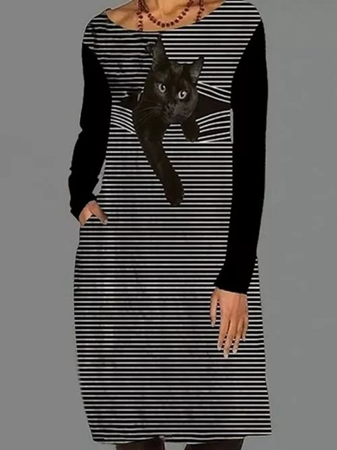 Casual Animal Tunic Round Neckline Shift Dress