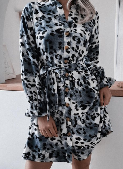 Leopard/Tie Dye Long Sleeves/Lantern Sleeve Shift Above Knee Casual Shirt Dresses