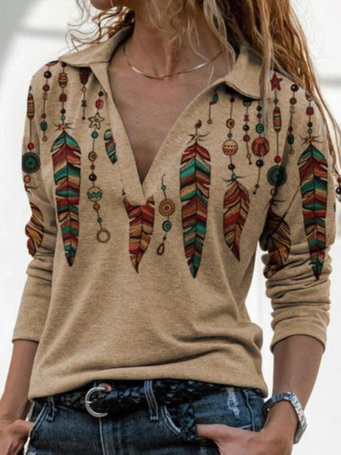 Women's Reto Western Feather Print Casual Lapel Long Sleeve Top