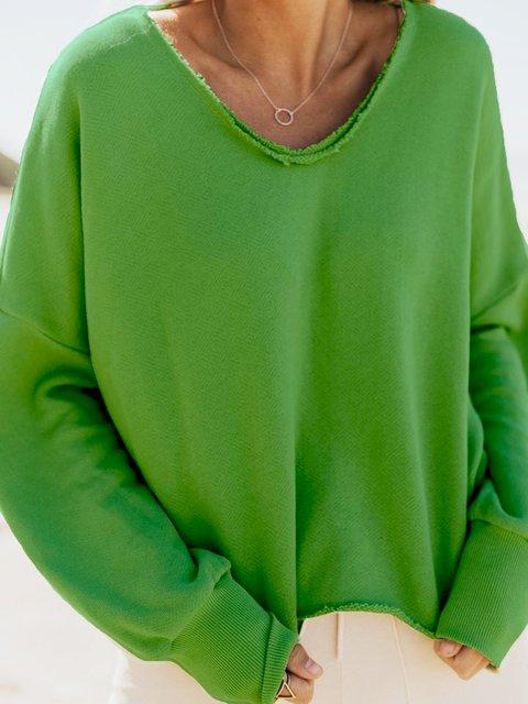Plain Cotton-Blend Long Sleeve Shirts & Tops