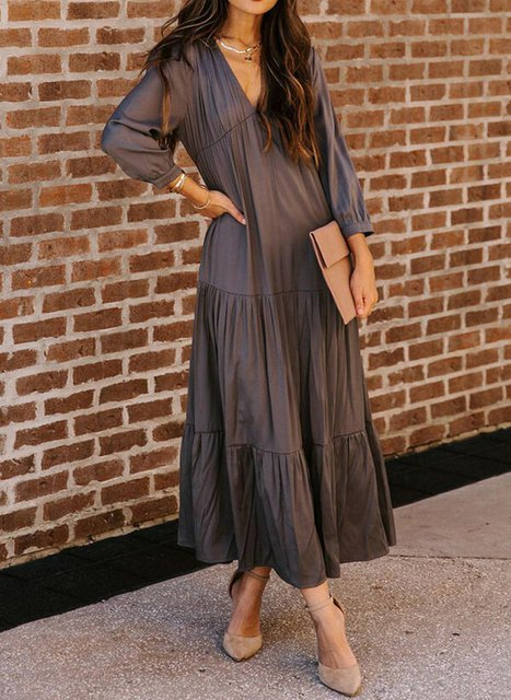 Solid Long Sleeves Shift Little Black/Elegant Maxi Dresses