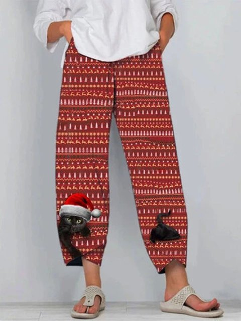 Christmas Cat Print Elastic Waist Vintage Plus Size Pants