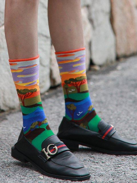 Jacquard cotton socks