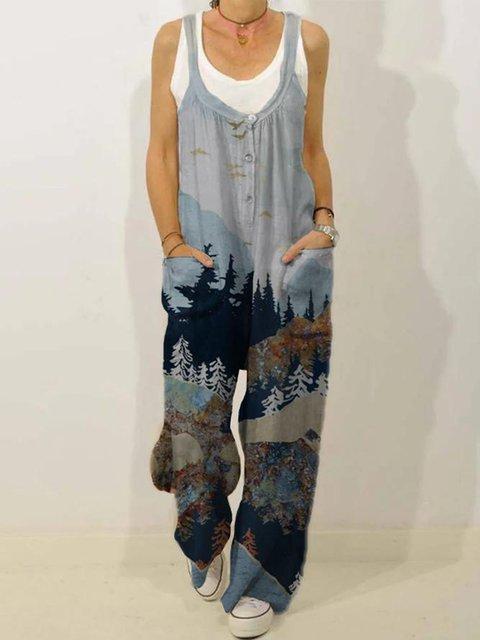 Mountain Treetop Print Linen Jumpsuits for Women