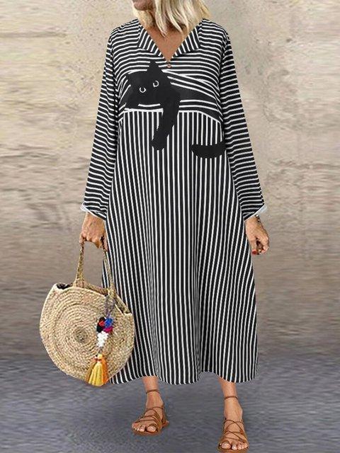 Vintage Cat Striped Print Open V-neck A-line Plus Size Dress