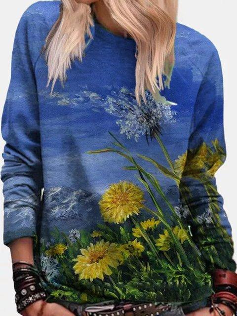 Long Sleeve Floral Crew Neck Printed Sweatshirt