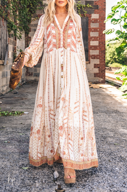 Boho Printed Long Sleeve Tribal Dresses