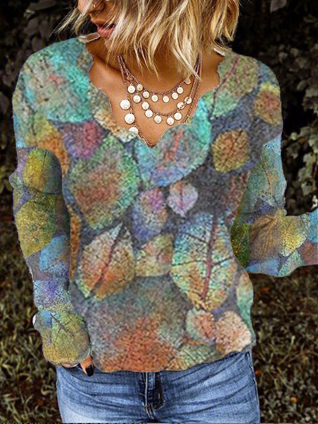 Cotton-Blend Printed Floral Long Sleeve Shirts & Tops