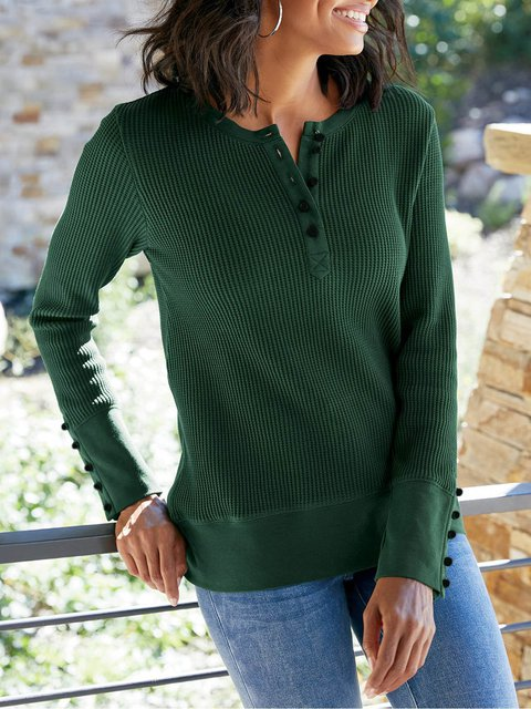 Cotton-Blend Round Neck Long Sleeve Shirts & Tops