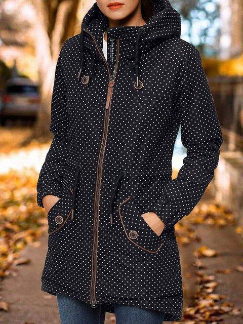 Black Hooded Casual Long Sleeve Polka Dots Coat