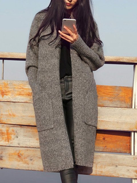 Long Simple Long Sleeve Sleeve Cardigan Solid ZwqwRY