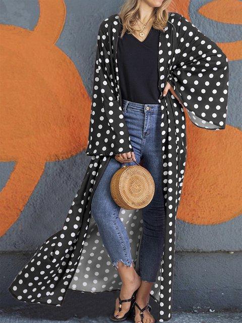 Casual Cotton-Blend Polka Dots Outerwear