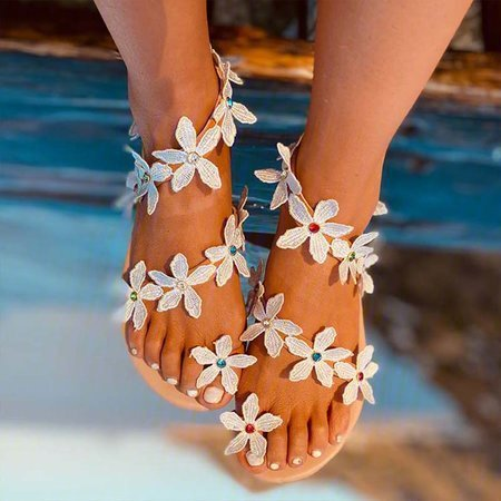 Pi Clue Brown Wedding Flower Flat Heel Sandals