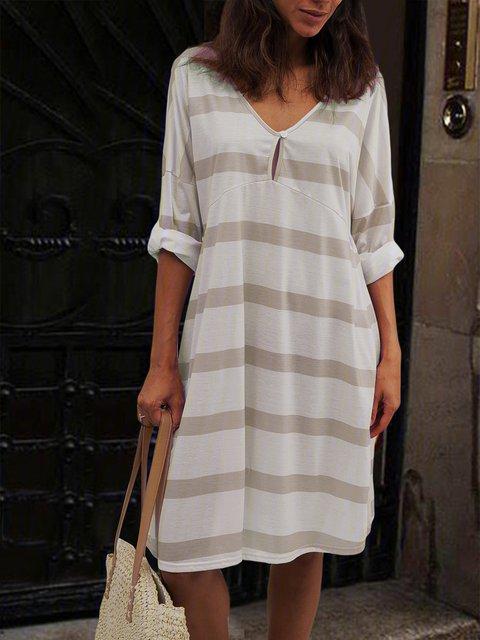 Women  V-neck Half Sleeve Casual Midi Dress