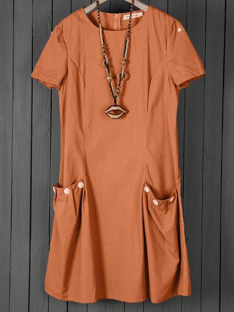 Summer Pockets Buttoned-decor Zipper Back Shift Linen Dresses