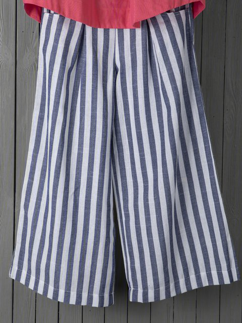 Women Striped Pants Pockets Casual Wide Leg Pants