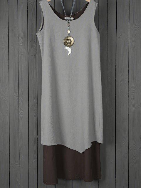 Coffee Shift Women Daily Basic Sleeveless Paneled Summer Dress