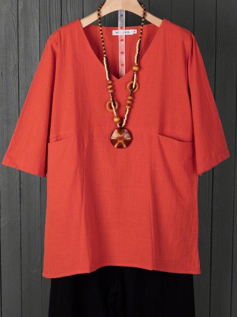 V Neck Half Sleeve Cotton Casual Shirts & Tops