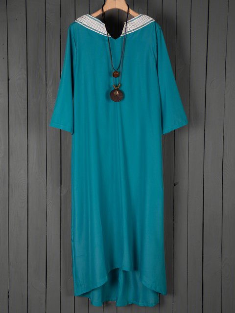 Sky Blue Shift Women Daily Linen Statement Paneled Plain Summer Dress