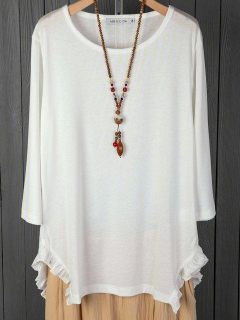 White Basic Raglan Sleeve Cotton T-Shirts