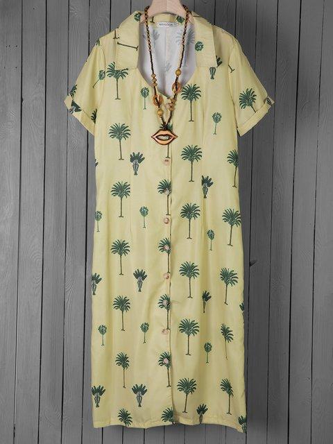 Shirt Collar Women Dresses Beach Casual Cotton-Blend Dresses