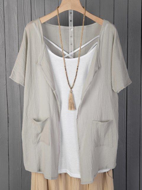 Short Sleeve Solid Shirts & Tops