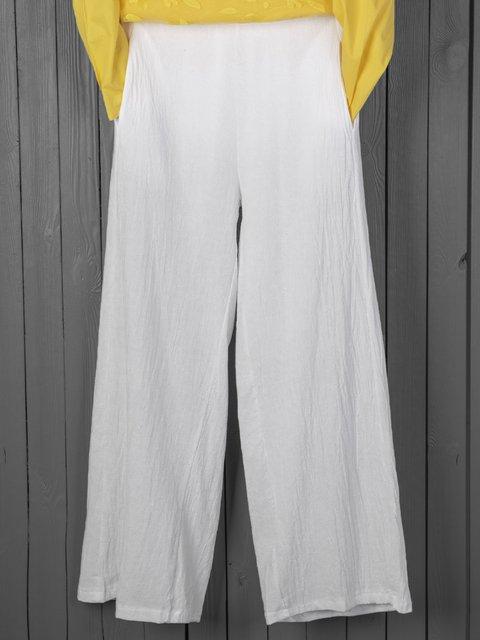 Wide Leg Cotton Pants Casual Plain Pants