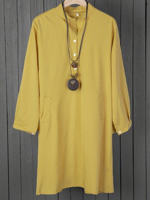 Stand Collar  Women Daytime Half Sleeve Basic Pockets Solid Summer Dress