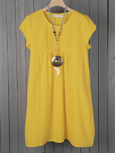 Summer Dress Pockets Pleated Details Cocoon Dresses