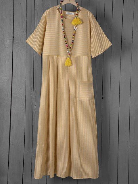 Summer Dress Pockets Pleated Details Round Neck Striped Dresses