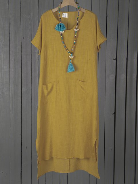 V neck  Shift Women Daily Casual Short Sleeve Pockets Solid Summer Dress