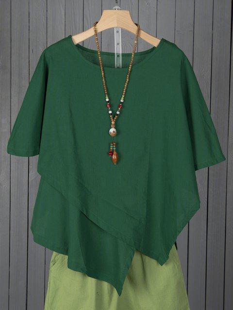 Women Asymmetric Linen Blouses Crew Neck Vintage Plain Linen Tops