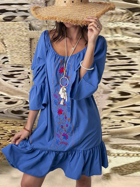 Boho Printed Bell Sleeves Casual Vacation Dresses