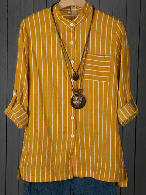 Stripes Printed/dyed Stand Collar Linen Casual Blouses