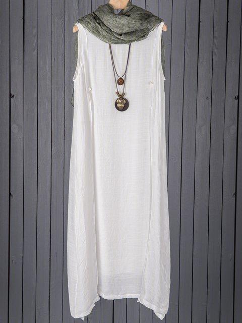 White  Women Daily Sleeveless Asymmetric Solid Casual Dress