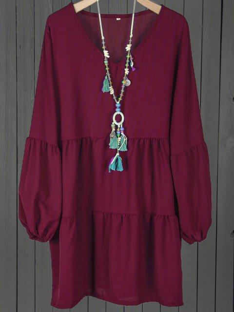V neck  Shift Women Daily Balloon Sleeve Casual Paneled Solid Fall Dress