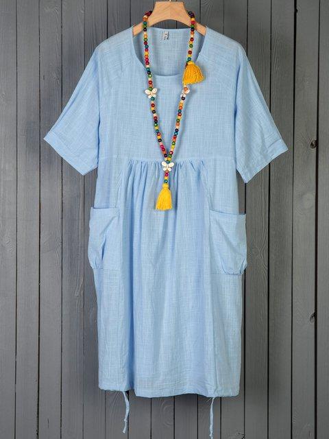 Crew Neck Women Dresses Going Out Pockets Dresses