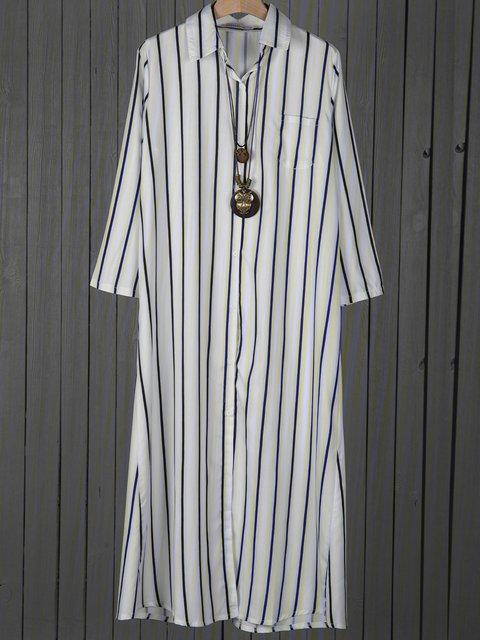 Shirt Collar White Shift Women Cotton Casual Long Sleeve Slit Fall Dress