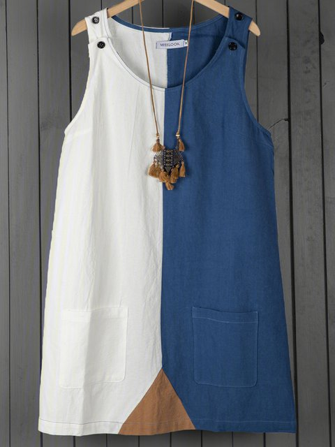 Summer Pockets Paneled Shift Casual Dresses
