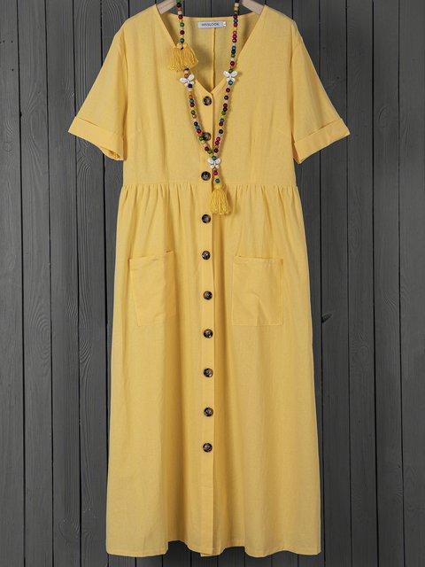 V Neck Women Dresses Shift Linen Dresses