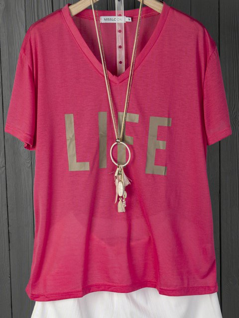 Letter Short Sleeve Casual Cotton Shirts & Tops